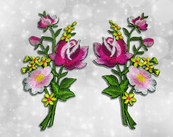 "Flower Iron on Patch (L1), Flower Embroidered Applique Patch, Dress Decoration Appliques-Size 2 1/4""(W)x4 1/2""(H)"