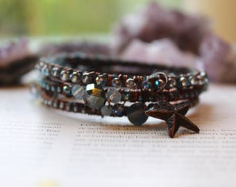Boho Bracelet Set, Boho Bangle Stack, Stacking Bangles, Layering Bracelets, Stacking Bracelets, Crystal Bracelets, Wire Wrapped Jewellery