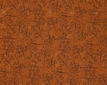 Moda Fabric ~ Nature's Kaleidoscope by Sandy Gervais ~ Black Trees and Moons on a Orange Background