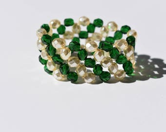 Stretch Bead Bracelet. Green and Off White Pearl. Holiday Party Bracelet. Czech Glass Beads. St Patrick Bracelet. For Her. Under 50.