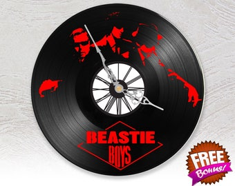 BEASTIE BOY // Laser Cut Handicraft art 33t Vinyl Clock Hour Vintage Olschool Interior Decoration Child Room Living Room