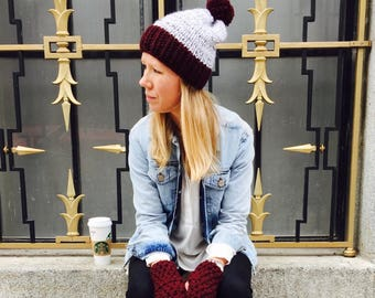 ASPEN Slouch Hat (two-toned with yarn pompom)