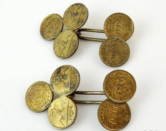Antique Victorian Cufflinks Guatemala 1/4 Real Coins 1894