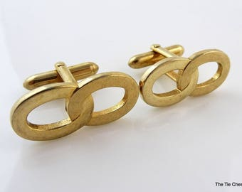 Swank Vintage Cufflinks Chains Links Gold Tone Classy Men's Jewelry