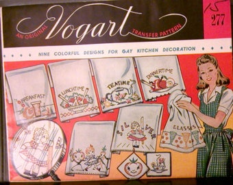 Hot Iron Transfers Vogart Unused Cross Stitch Lucious Fruits Gay Vegetables Cunning Maids for Kitchen Towels Pot Holders Aprons  Embroidery