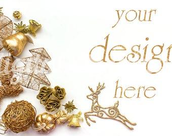 Gold Christmas Decoration Styled Stock Photography White Christmas Photo Desk Stock Social Media Photo Digital Background Holiday Mock up