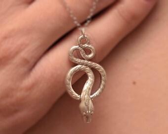 Goth Necklace , Big Snake Necklace 925 Sterling Silver Snake Pendant, Snake Necklace, Silver Snake Pendant, Snake Silver Jewelry