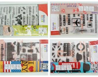 Tampons silicone au choix Voyage vacances Evasion Transport Londres New York Artemio  Clear Stamp en planche 18cm
