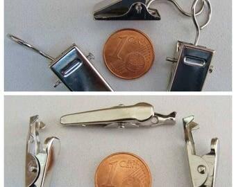 Pinces CROCODILE clips 35x7mm ou 35x10mm métal argenté Loisirs créatifs home déco porte-photo