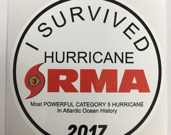 Hurricane IRMA Survivor CIRCLE Decal By SBDdecals.com 1 Dollar Donated per decal sold