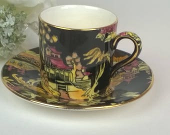 Black Pekin Chintz Royal Winton Tea Cup and Saucer - Some Crazing