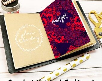 Red Folky Floral Dashboard for Traveler's Notebook in Micro, Passport, Pocket, A6, Personal, B6, Standard, & Cashier