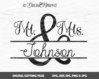 Мr and Мrs svg, Wedding svg, Split Monogram Frame, Wedding Sign, Split Monogram Mr and Mrs Cut File for Cameo and Cricut Wedding svg SVDP358