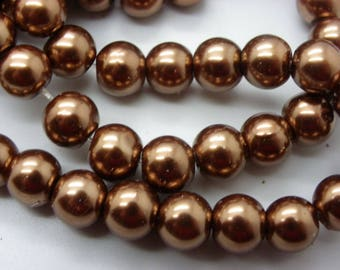 50 8 mm mother of Pearl 8 mm chocolate brown glass beads
