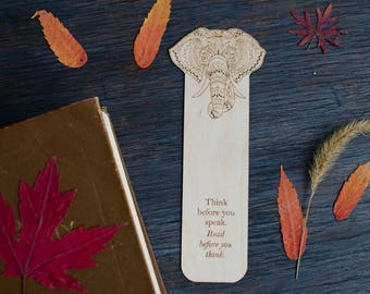 Elephant-Mandala Bookmark, Wooden Bookmark with Elephant engraving, Great gift for book readers, Wooden bookmark for Booklovers