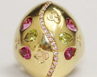 20% OFF Vintage Pink Sapphire, Peridot and Diamond Dome Ring Set in 18k Yellow Gold Size 8.5