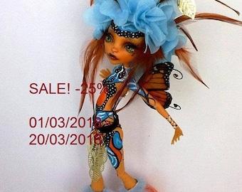 SALE -25%! Monster High repaint, Monste High OOAK,,Monster High custom by Lalarossa, Toralei, Butterfly Dream 3.