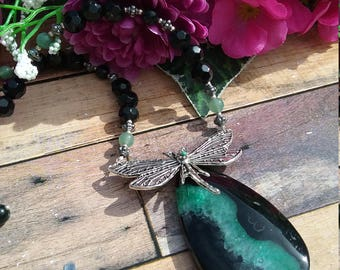 Agate and dragonfly necklace, gemstone, UK seller