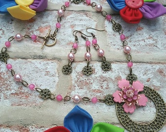 Pretty in pink necklace and earring set, pair with a spare, pink flower, wedding piece, handmade in Tavistock, UK seller