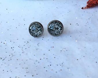 Mandala Cabochon Zen,Black White Earring, Geometric Jewelry, Bohemian Gypsy, Small Flower Zen, Yoga Earring,Glass Dome Cabochon,Mandala Boho