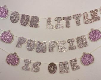 Our Little Pumpkin Birthday Banner; Pumpkin Birthday Banner; 1st Birthday; Glitter Pumpkin Banner; Pink and Gold Birthday; Pumpkin Decor