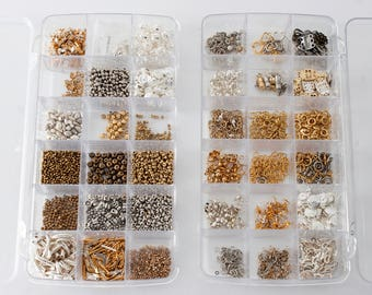 2 organizers full of jewelry making supplies - findings and clasps
