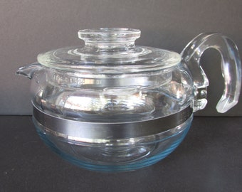 1960's Pyrex Flameware Teapot 8446 B, Blue Tint/ Mid Century Pyrex 6 cup, Glass, Stove top tea kettle.
