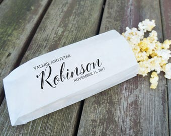 Wedding Popcorn Bags, Engagement Party Favors, Popcorn Buffet, Peanut Bags - Grease Resistant  - Personalized