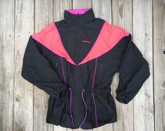 Reebok Windbreaker Jacket Black Orange Pink XL 90s