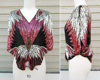 Vintage 70s silk sequin butterfly top by Scala Made in India