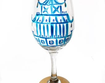 Pagoda Wine Glass / Custom Hand Painted Glassware /  Audrastyle / Chinoiserie Blue White Porcelain / Ginger Jar