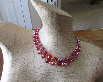 Vintage Red Aurora Borealis Crystal Bead Necklace AB Double Strand Choker