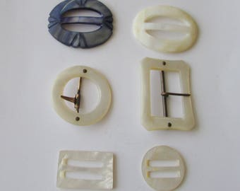 6 MOP Buckles Vintage Lot Mother of Pearl Buckle Repurpose