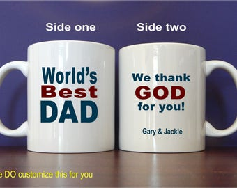 World's Best Dad Coffee Mug Gift, Custom Gift for Daddy Birthday-Christmas-Fathers Day, Papa Mug Gift for Him, MDA005