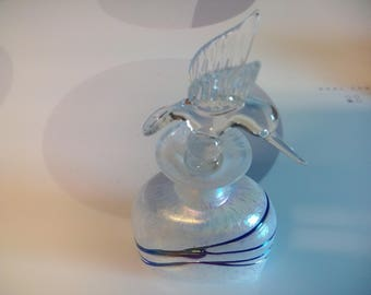 Vintage Art Glass Perfume Bottle With Hummingbird Stopper