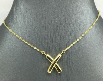 14K Yellow Gold X Charm Necklace