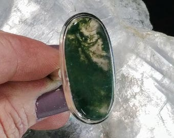 Moss Agate Statement Ring - Size 7.25