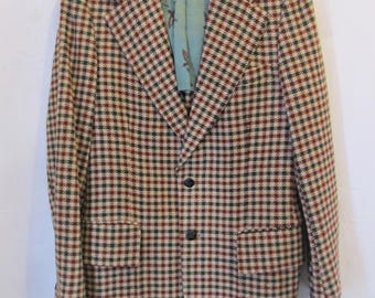 A Men's Vintage 70's,Stylin'  HOUNDSTOOTH Check,DISC0 era Wool Blazer By Pranges.40R