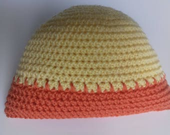 Two-tone baby hat, hand crocheted, size 3 months