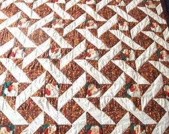 "Santa Christmas Quilt, 58"" x 89"" Handmade"