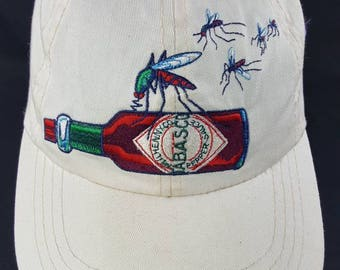 Tabasco Brand Pepper Sauce Hot Sauce Leather Strap Strapback Dad Low Profile Hat Vibtage 90s FREE Shipping Bite Me