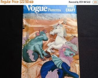 Vogue craft pattern 8692. Uncut stuffed sea creature pillows. Cow, horse, lion.
