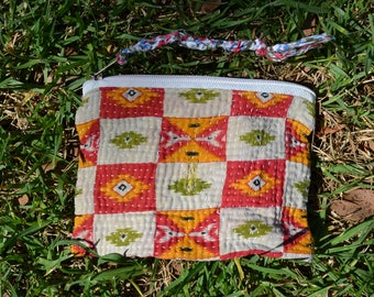 Vintage unisex TRAVEL KANTHA POUCH small cosmetics toiletries bag / large purse with tassel / red orange passport holder