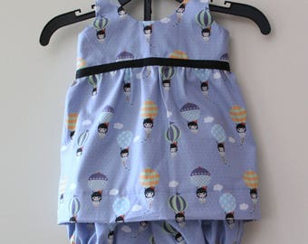 summer1 year cotton sleeveless dress and matching her bloomer