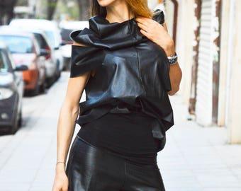 Black Leather High Waist Pants, Casual Black Shorts, Plus Size Pants, Fashion Street Shorts by SSDfashion