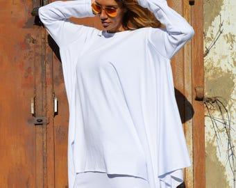 Women's White Cotton Tunic Top, Oversize Casual Loose Sweatshirt, Plus Size Sports Sweatshirt by SSDfashion
