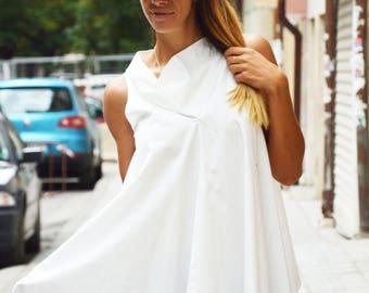 Extravagant White Loose Shirt, Cotton Asymmetric Shirt, Oversize Sexy Shirt, Plus Size Elegant, Maxi Shirt by SSDfashion