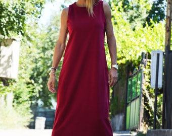 Burgundy Wadding Cotton Party Dress, Extravagant Oversize Long Dress, Kaftan Loose Dress by SSDfashion