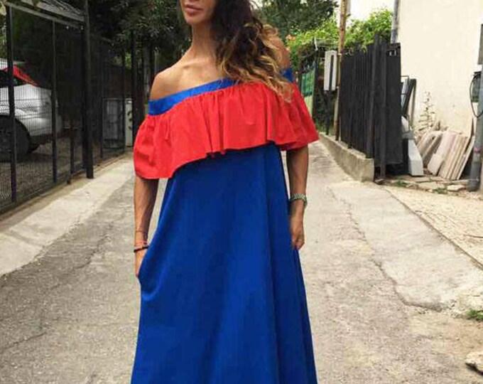 Oversized Extravagant Ruffle Dress, Casual Summer Cotton Dress, Off-shoulder Boho Dress, Maxi Dress by SSDfashion