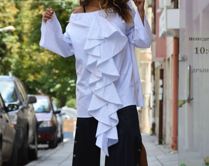 New White Soft Cotton Shirt, Oversize Extravagant Sleeves, Designer Summer Blouse, Casual Shirt by SSDfashion